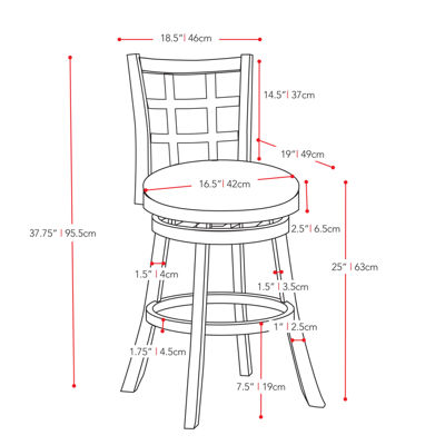 CorLiving Woodgrove Stained Counter Height Barstool with Bonded Leather Seat