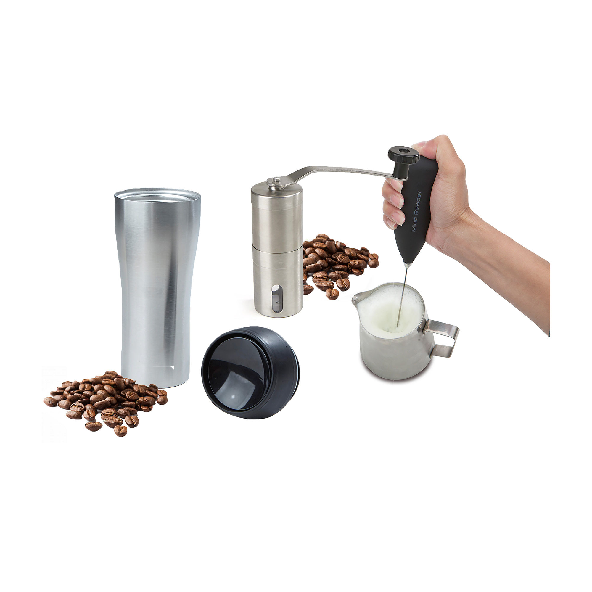 Mind Reader Coffee Lovers 4-Piece Set with Travel Mug, Frother, Frothing Pitcher, & Coffee Grinder