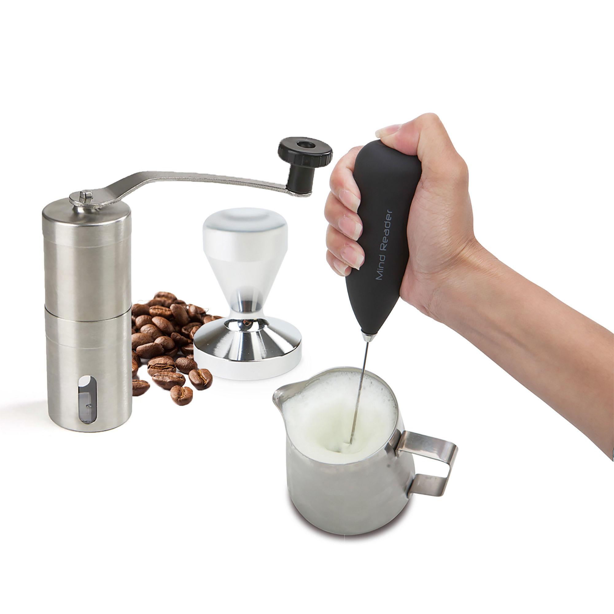Mind Reader Coffee Lovers 4-Piece Set with Tamper, Frother, Frothing Pitcher, & Coffee Grinder