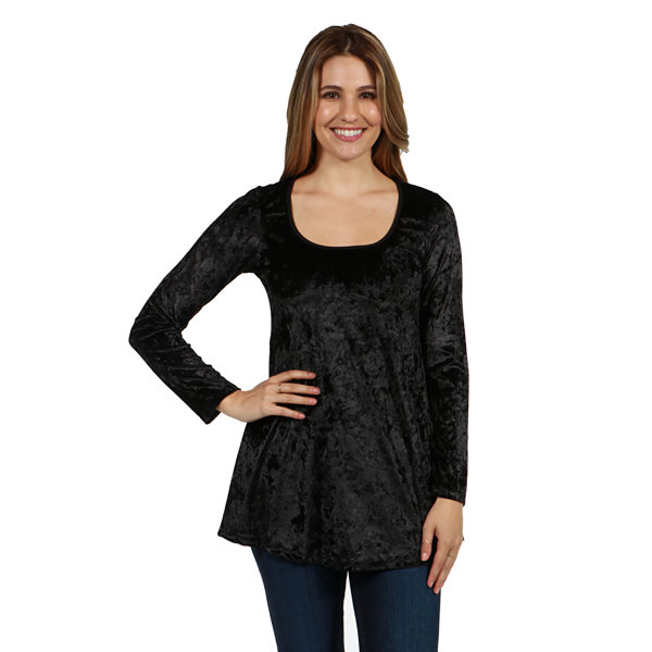 24/7 Comfort Apparel Ashley Velvet Tunic Top