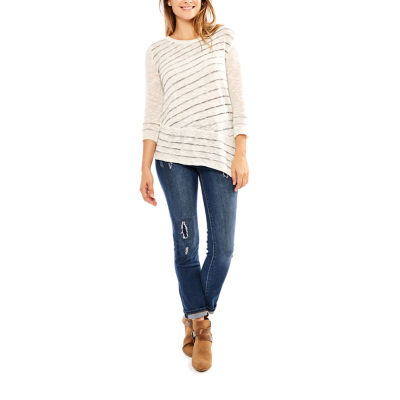 Skyes The Limit Himalaya 3/4 Sleeve Crew Neck Stripe Pullover Sweater-Plus