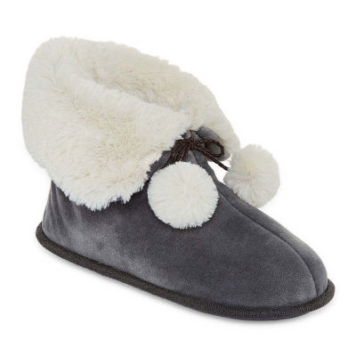 Cuddl Duds Velour Ankle Bootie Slippers