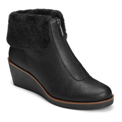 A2 by Aerosoles Womens Bintegrity Winter Zip Wedge Heel Boots