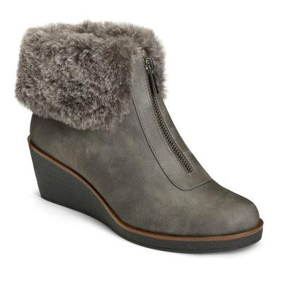 A2 by Aerosoles Womens Bintegrity Winter Zip Wedge Heel Boots