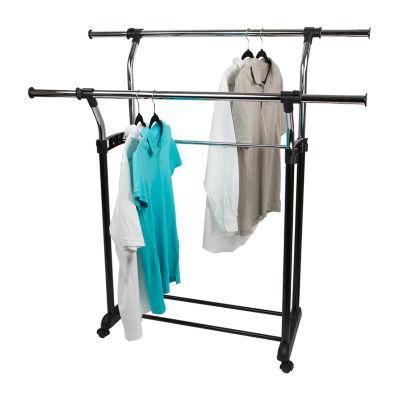 Sunbeam Chrome Plated Steel Adjustable Double Rail Garment Rack