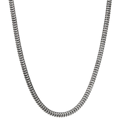 Stainless Steel 24 Inch Solid Herringbone Chain Necklace