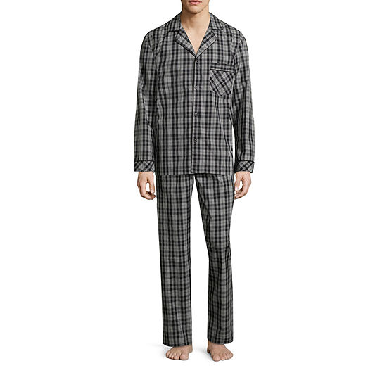 Stafford Mens Long Sleeve 2-pc Pant Pajama Set