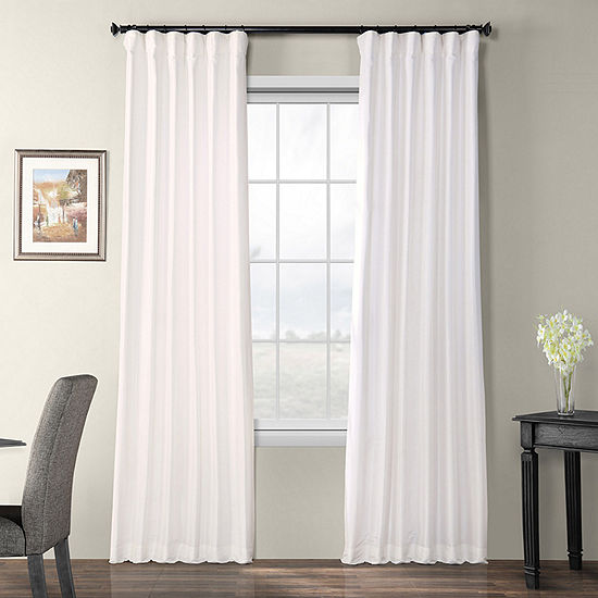Exclusive Fabrics & Furnishing Faux Silk Taffeta Energy Saving Blackout Rod-Pocket Single Curtain Panel