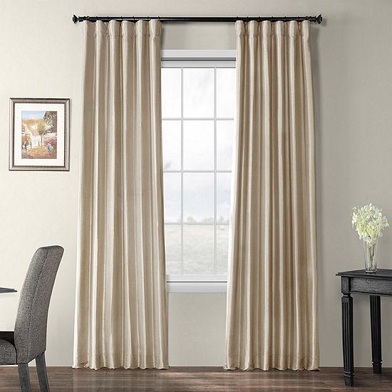 Exclusive Fabrics & Furnishing Faux Silk Taffeta Energy Saving Blackout Rod Pocket Single Curtain Panel