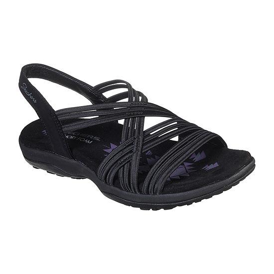 Skechers Womens Reggae Slim - Simply Stretch Criss Cross Strap Flat Sandals