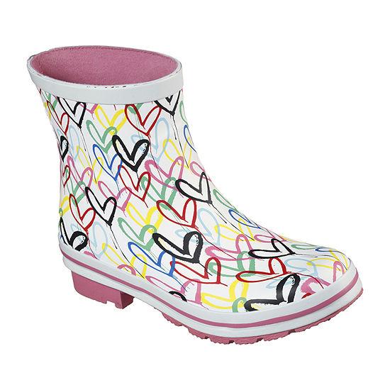 Skechers Bobs Womens Check Raining Love Waterproof Block Heel Rain Boots