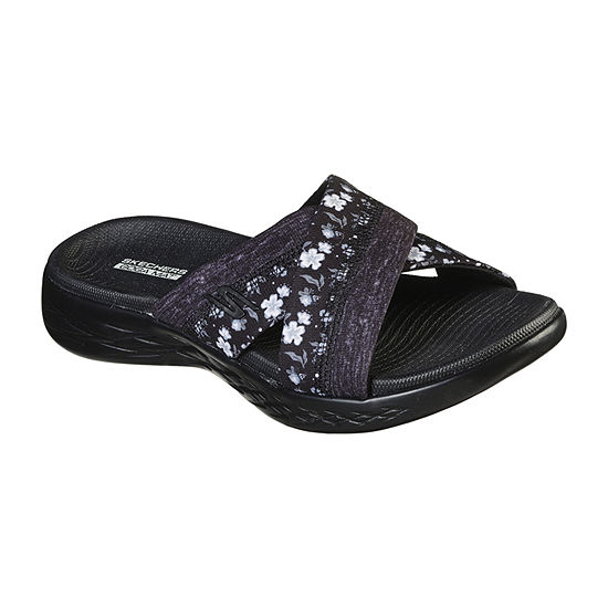 Skechers On The Go 600 - Blooms Womens Criss Cross Strap Footbed Sandals