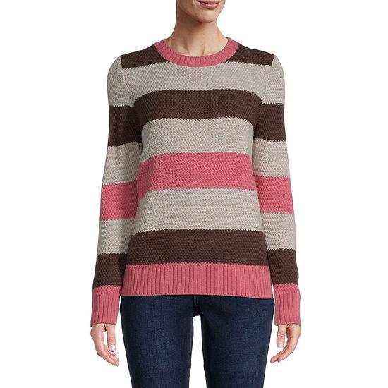 St. John's Bay-Tall Womens Crew Neck Long Sleeve Dots Pullover Sweater