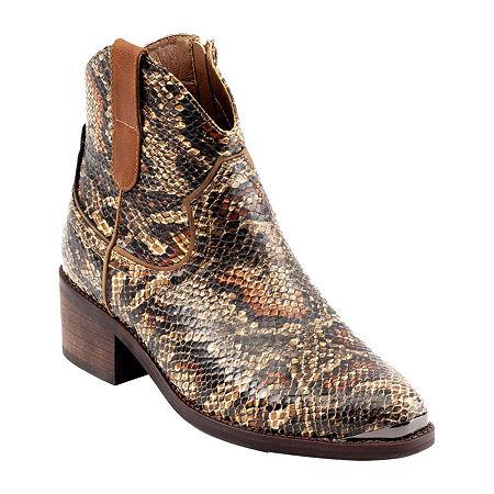 Shoes Womens Block Heel Stax Booties, 6 Medium, Brown