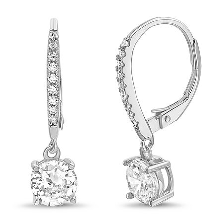Silver Treasures Cubic Zirconia Sterling Silver Round Drop Earrings, One Size , No Color Family
