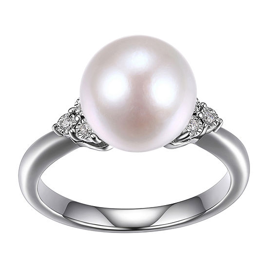 Womens Diamond Accent 10-11MM Genuine White Cultured Freshwater Pearl Sterling Silver Cocktail Ring
