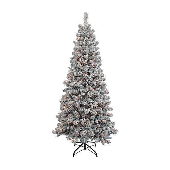 Kurt Adler 6 Foot Spruce Pre-Lit Flocked Christmas Tree