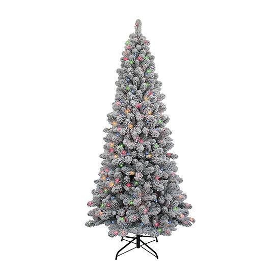 Kurt Adler 7 Foot Spruce Pre-Lit Flocked Christmas Tree