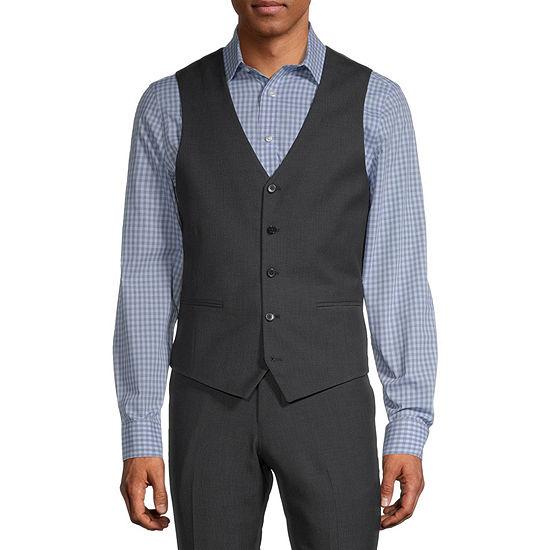 JF J.Ferrar Black Geo Mens Dots Stretch Slim Fit Suit Vest