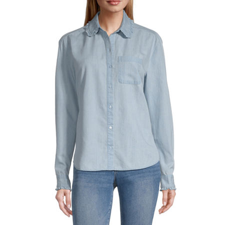 a.n.a Womens Long Sleeve Twill Blouse, X-large , Blue