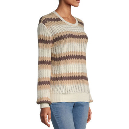 a.n.a. Womens Round Neck Long Sleeve Striped Pullover Sweater, Xx-large , Beige