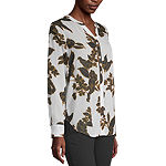 Liz Claiborne Womens Long Sleeve Regular Fit Button-Down Shirt