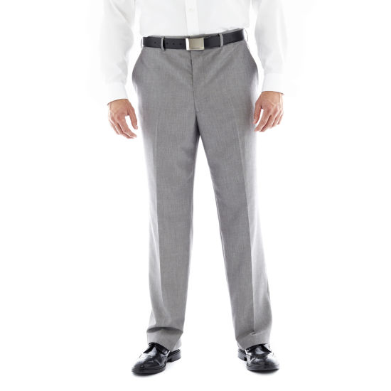 JF J. Ferrar® Gray Flat–Front Suit Pants–Big & Tall