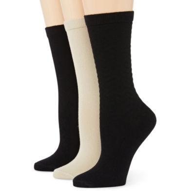 Mixit™ 3-pk. Chevron Print Flat Knit Crew Socks
