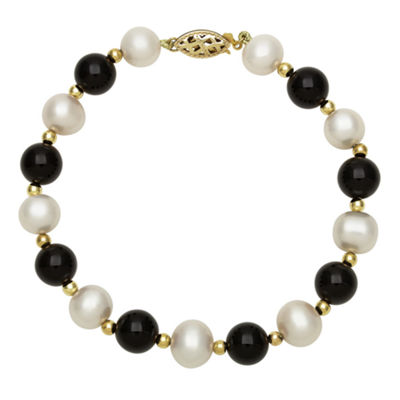 Cultured Freshwater Pearl and Genuine Dyed Onyx Bracelet