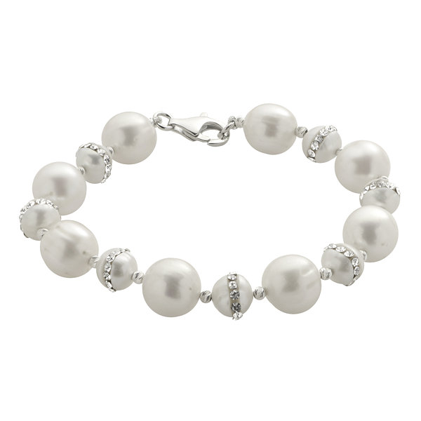 Cultured Freshwater Pearl & Crystal Orbit Sterling Silver Bracelet