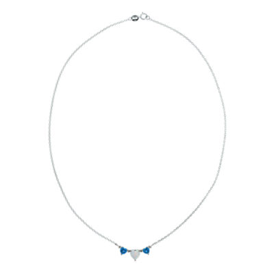 Lab-Created Opal & Blue Topaz Heart-Shaped 3-Stone Sterling Silver Necklace