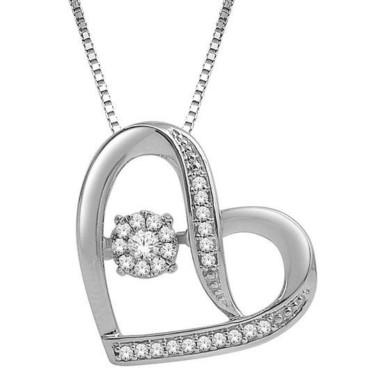 Love in Motion™ 1/7 CT. T.W. Diamond Sterling Silver Sideways Heart Pendant