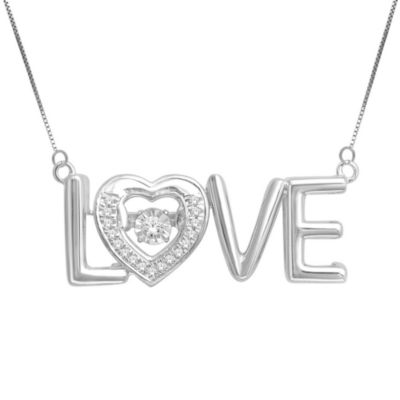 Love in Motion™ 1/8 CT. T.W. Diamond Sterling Silver Love Pendant Necklace