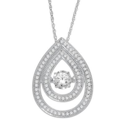Love in Motion™ 1/2 CT. T.W. Diamond 10K White Gold Double Teardrop Necklace