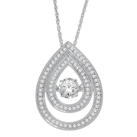 Love in Motion™ 1/2 CT. T.W. Diamond 10K White Gold Double Teardrop Necklace