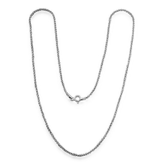 Made in Italy Sterling Silver Solid Wheat Chain Necklace