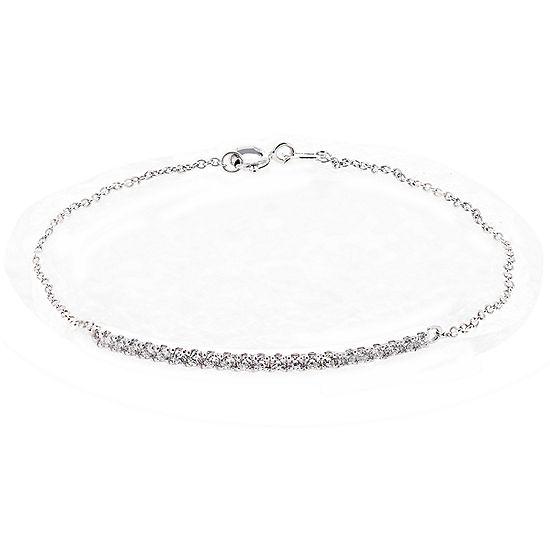 DiamonArt® Cubic Zirconia Sterling Silver Bar Bracelet
