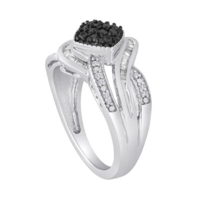 1/3 CT. T.W. White & Color-Enhanced Black Diamond Sterling Silver Ring