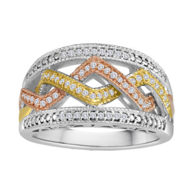 1/5 CT. T.W. Diamond Tri-Tone Ring