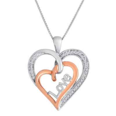 1/10CTTW Two Tone Sterling Silver And 14K Rose Gold Over Silver Diamond Heart Love Pendant
