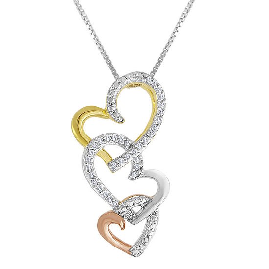 1/10 CT. T.W. Diamond Tri-Tone Triple-Heart Pendant Necklace