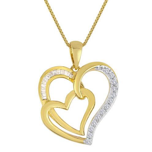 ForeverMine® 1/4 CT. T.W. Diamond Double-Heart Pendant