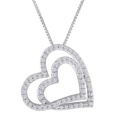 ForeverMine® 1/3 CT. T.W. Diamond Double-Heart Pendant Necklace