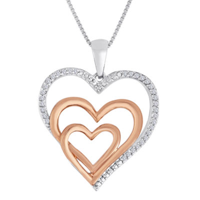 Forevermine Collection 1/10 CT. T.W. Diamond Two-Tone Triple-Heart Pendant