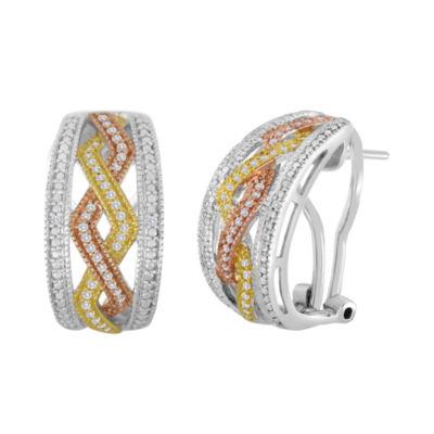 1/5 CT. T.W. Diamond Tri-Tone Hoop Earrings