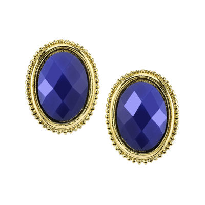 1928® Blue Gold-Tone Button Earrings