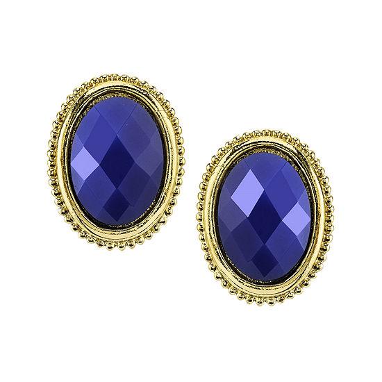 1928 Blue Gold Tone Button Earrings