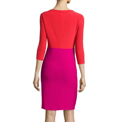 Black Label by Evan-Picone 3/4-Sleeve Colorblock Sheath Dress
