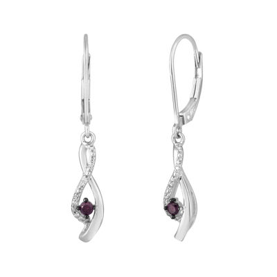 LIMITED QUANTITIES1/6 CT. T.W. White and Color-Enhanced Purple Diamond Earrings