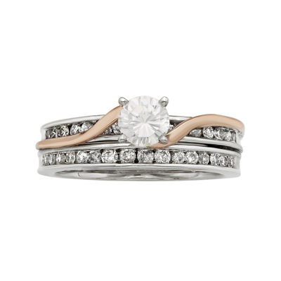 1 CT. T.W. Certified Diamonds 14K Two-Tone Gold Bridal Ring Set